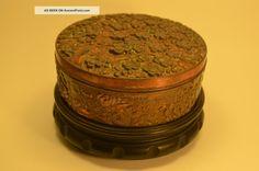 Japanese ladies trinket box copper over antimony/pewter 1900-1940