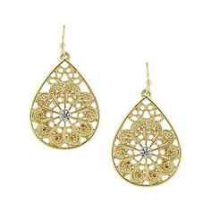 1928 Jewelry - Gold-Tone Crystal Filigree Teardrop Earrings (1.150 RUB) ❤ liked on Polyvore featuring jewelry, earrings, clear drop earrings, sparkly earrings, 1928 earrings, gold colored earrings and gold tone earrings