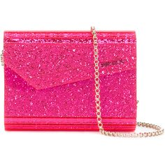 Jimmy Choo 'Candy' glittered shoulder bag ($641) ❤ liked on Polyvore featuring bags, handbags, shoulder bags, metallic crossbody, metallic purse, shoulder handbags, jimmy choo purses and pink cross body purse