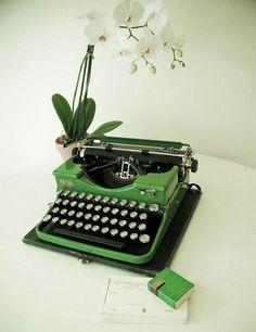 Green type writter