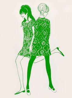 illustration in green 60s And 70s Fashion, Retro Fashion, Fashion Art, Vintage Fashion, Fashion Design, Fashion Ideas, Retro Illustration, Graphic Design Illustration, Twiggy