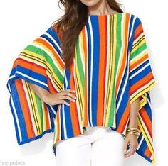 Ralph Lauren Multi Striped Sweater Pull Over Poncho Cape Women's L/XL NWT $139 #RalphLauren #Poncho