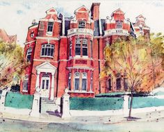 Tufnell Park, London. Pencil and watercolour by Dean Thody