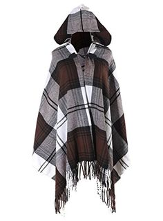 Futurino Womens Winter Boho Jacquard Plaid Hooded Poncho Cape Coverup OneSize Dark Brown ** Want additional info? Click on the image.