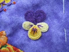 Stumpwork pansy: tutorial part two