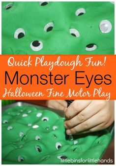 Halloween Fine Motor Activity Monster Eyes And Tweezers   Play Dough And Fine Motor skills Strengthening little hands while having loads of fun is my number one goal here. We use everyday tools to work on skills and find simple ways to play and laugh too! Play dough is awesome for hand and ...