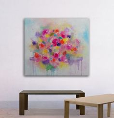 """Large Abstract Painting, Landscape , Wall art, abstract painting , Flower , 32x36"""" Mix media on Canvas, purple, yellow, white,roses, white"""