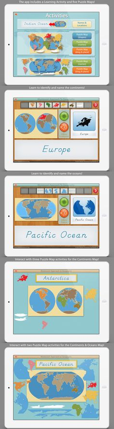 World Continents & Oceans app by Mobile Montessori. Our method of teaching geography has been time tested to work! Give it a try and see why over 20,000 took the  journey with us in December 2013!  // montessori apps educational iPad apps preschool apps kindergarten apps