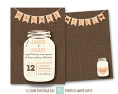 Mason Jar Wedding Invitation or Save the Date-RSVP Card, Direction Card, etc. Available- Printable Wedding Suite for DIY Bride. Click through to find matching games, favors, thank you cards, inserts, decor, and more. Or shop our 1000+ designs for all of life's journeys. Weddings, birthdays, new babies, anniversaries, and more. Only at Aesthetic Journeys