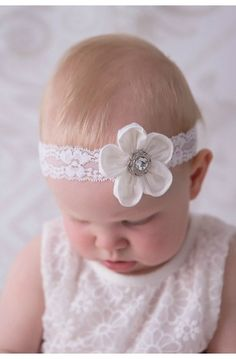 This divine silk flower headband is a true heirloom that will be treasured for generations to come #christening #babyheadband #headpiece White silk Small silk flower headband for christening baptism hair band flower girl head piece ivory lace and crystal