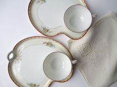Vintage Noritake Floral Snack Plate and Teacup Pair by jenscloset