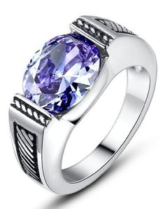 Ai Stainless Steel Jewelry – Anillo hecho con acero inoxidable y zirconia cúbica, color morado