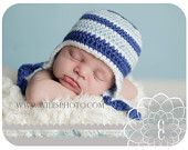 BLUE STRIPES : baby boy crochet hat in size 0-3 months