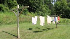 This video shows how to build a clothesline, it's a pretty simple project, the hardest part is probably digging the holes for the post.
