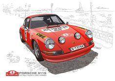 Porsche911S Rally Monte Carlo 1970(Vector Illustration)