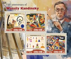"SRL16702a 150th anniversary of Wassily Kandinsky (Wassily Kandinsky (1866–1944) ""Two Movements"", 1924; ""Sketch for Composition II"", 1909-10; ""Sketch for picture XVI The Great Tower of Kiev"", 1924; ""Small Pleasures"", 1913)"