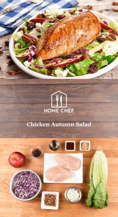 Chicken Autumn Salad  with cranberries, toasted pecans, and maple ginger dressing