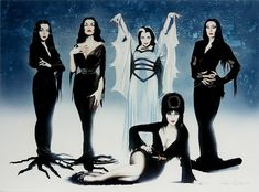 'ghouls night out' (artwork) left to right: morticia: carolyn jones (the addams family tv series), vampira: maila nurmi (the original late night tv hostess/ plan 9 from outer space) lily munster: yvonne decarlo (the munsters tv series and films) morticia: angelica houston (addams; family movies) seated elvira: cassandra peterson (late night tv hostess, elvira movies, halloween hostess)