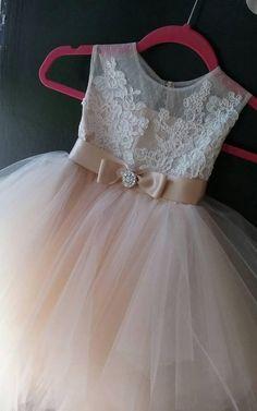 4d73b5ed70da Beautiful Tea-length Tulle Dress With Bow Sash Ribbon-401948. Little Girl  DressesFlower Girl DressesGirls ...