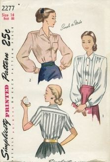 An original ca. 1948 Simplicity Pattern 2277.  The front-buttoning blouse is styled with a yoke which releases soft gathers in front and back. A convertible collar is featured. The sleeves may be short, or long and gathered to a wristband which turns back to form a link-buttoned cuff. In Style I, outside tucks run parallel to the button closing. Style II is finished with a patch pocket.