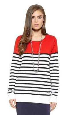 Karen Kane Red White and Black  Nautical Stripe Pullover Sweater #Resort #Resort_2015 #Resort2015 #Karen_Kane #Red #White #Black  #Nautical #Stripe #Pullover #Sweater  #Spring #Summer #Beach #Beachwear #Fashion