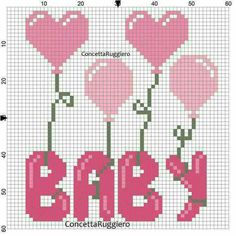 Baby with balloons x-stitch