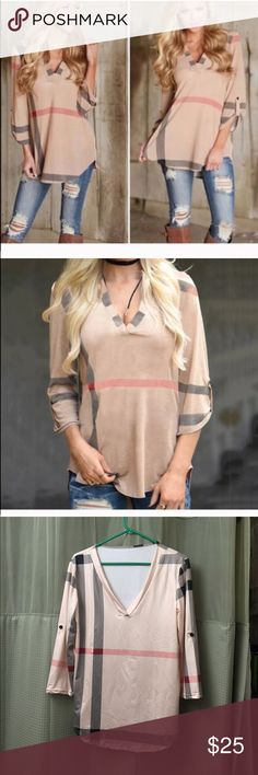 Plaid top 100% Brand New,  Material: Polyester Pattern: Plaid / Grid / Checkered / Tartan Type: Tee Tops / T-shirt / Blouse Occasion: Casual Neckline: V Neck Sleeve Type: 3/4 Sleeve / Roll-up Sleeve , bust 94 cm length 68 cm Tops