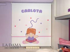 Cortinas para dormitorio de niña personalizadas con su nombre.
