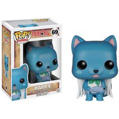 Vinyl Figure at Mighty Ape NZ. Your favourite characters from Fairy Tail are now super-cute vinyl figures! This Fairy Tail Happy Pop! Vinyl Figure features the blue Exceed member o. Figurine Fairy Tail, Figurine Anime, Pop Figurine, Fairytail, Nalu, Figurines D'action, Sword Art Online, Marchandise Anime, Animation