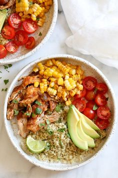 Chipotle Chicken Bowls with Cilantro Lime Quinoa are so easy to make and have tons of flavor! I like to make them with chicken thighs but if you prefer white meat, chicken breast would work too. Extra limes for squeezing on top are recommended! Chipotle Chicken Bowl, Salsa Chicken, Chicken Dips, Instant Pot, Cilantro Lime Quinoa, Cooking Recipes, Healthy Recipes, Healthy Meals, Smoker Recipes
