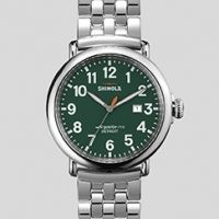 Shinola 'The Runwell' Silver Metal Band Watch Green Dial with Date, 47mm
