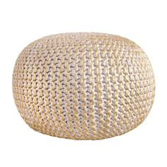 nuLOOM Hand Knitted Cotton Twisted Casual Living Disco Cables Pouf