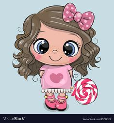 Illustration about Cute Cartoon Girl in a pink dress with Lollipop. Illustration of illustration, lollipop, adorable - 147762813 Cartoon Cartoon, Cartoon Kunst, Cute Cartoon Girl, Cartoon Drawings, Cute Drawings, Cartoon Characters, Cartoon Mignon, Art Mignon, Cartoon Profile Pictures