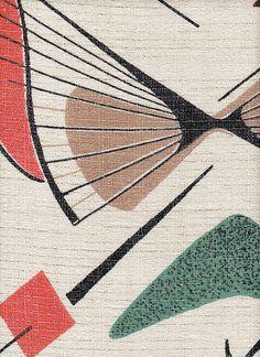 1950s - BARKCLOTH, draperies - (satellite motif, sputnik, mid century modern, space era, atomic design, interior decor)