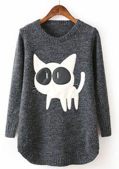 Black long sleeve cat sweater