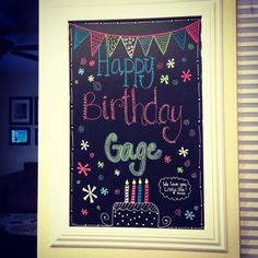 Change for each holiday birthday special occasion etc. Chalkboard Pictures, Chalkboard Art Quotes, Chalkboard Lettering, Chalkboard Designs, Chalkboard Ideas, Chalk Ideas, Chalkboard Drawings, Happy Birthday Kids, Bird Birthday Parties