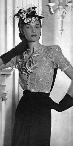 Fashion 1944 This was originally pinned because of the hat, but oh my goodness, I love the blouse!