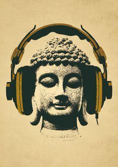 B Buddha Photo with Gold Headphone Overlay, Pop Art, Graphic Illustration. Rap Rj, Photocollage, Oeuvre D'art, Lotus, Pop Art, Street Art, Main Street, Art Photography, Religion