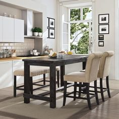 Furniture Of America Telara Contemporary Antique Black Counter Height Dining  Table. 60x30x36 | Eddy | Pinterest | Black Counters, Contemporary And  Furniture ...