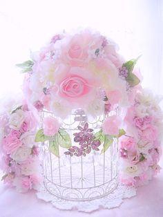 Romantic Rose Vintage Crystal Bejeweled Bird Cage