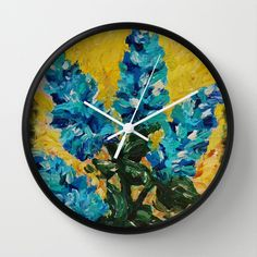 SHADES OF BLOOM - Stunning Whimsical Spring Summer Bright Blue Turquoise Royal Blue Sunshine Yellow Floral Abstract Modern Country Cottage Home Decor Hyacinths Decorative Bright Bold Happy Color Garden 2014 Wall Clock by EbiEmporium - $30.00