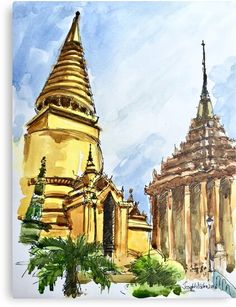 Do you love to go to vacation, as much as I do? I am pretty sure, the answer is yes :-) you will find some guidance about Bangkok. Have fun the article. Have fun your travel in Bangkok. Temple Thailand, Thailand Art, Bangkok Thailand, Bangkok Travel, Thailand Travel, Vietnam, Watercolor Paintings, Original Paintings, Thai Art