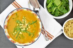 The blend of turmeric, cumin, hot chili and peanut butter make this simple sweet potato soup simply unforgettable.