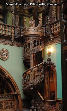 AMAZING BUILDING FEATS - STRANGE INTRICATELY CARVED WOODEN SPIRAL STAIRCASE IN PELES CASTLE, ROMANIA!