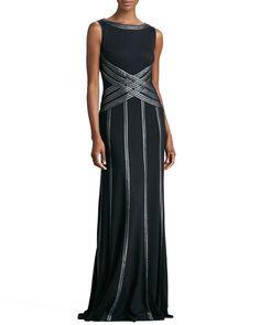 TALLL Tadashi Shoji Sleeveless Gown with Ribbon Striping