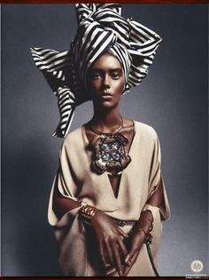 Ondria Hardin in 'African Queen' by Sebastian Kim for Numéro, March The question is, if you're going to appropriate African style, why not just use an African model? African Inspired Fashion, Ethnic Fashion, African Fashion, African Style, Fashion Women, African Theme, Fashion Fashion, High Fashion, Afro