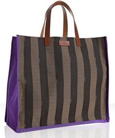 ShopStyle: Fendi asphalt and brown striped canvas tote