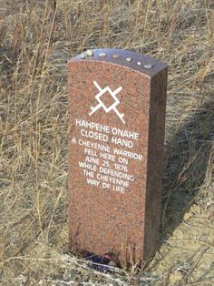 Native American Warrior grave stone.  The Battle of Little Big Horn National Monument, MT
