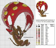Cross Stitch Fairy, Cross Stitch For Kids, Cross Stitch Animals, Cross Stitching, Cross Stitch Embroidery, Cross Stitch Patterns, Les Looney Tunes, Tom Et Jerry, Stitch Movie