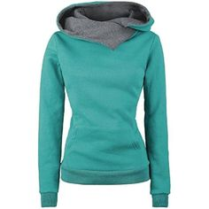 2979a15049f Women s Big Pockets Solid Slim Plus Size Hoodie Sweatshirts    Check out  the image by